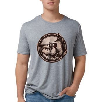 Distressed Wild Dog Stamp Mens Tri-blend T-Shirt