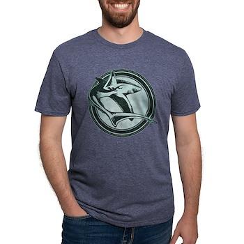 Distressed Wild Shark Stamp Mens Tri-blend T-Shirt