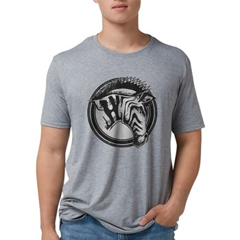 Distressed Wild Zebra Stamp Mens Tri-blend T-Shirt
