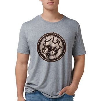 Distressed Wild Beaver Stamp Mens Tri-blend T-Shir