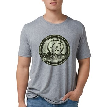 Distressed Wild Snail Stamp Mens Tri-blend T-Shirt