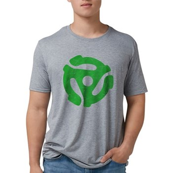 Green Distressed 45 RPM Adapt Mens Tri-blend T-Shi