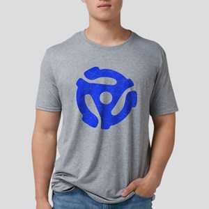 Blue Distressed 45 RPM Adapte Mens Tri-blend T-Shi