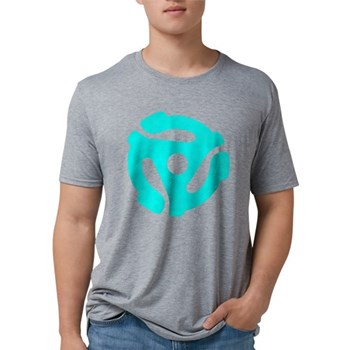 Turquoise Distressed 45 RPM Mens Tri-blend T-Shirt