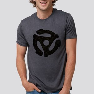 Black Distressed 45 RPM Adapt Mens Tri-blend T-Shi