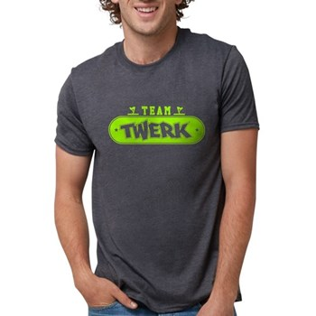 Neon Green Team Twerk Mens Tri-blend T-Shirt