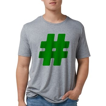 Green #Hashtag Mens Tri-blend T-Shirt