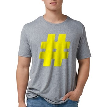 Yellow #Hashtag Mens Tri-blend T-Shirt