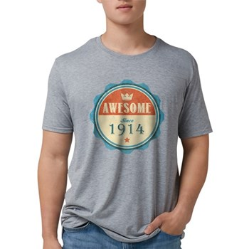 Awesome Since 1914 Mens Tri-blend T-Shirt