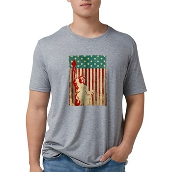 Vintage Style American Flag Mens Tri-blend T-Shirt