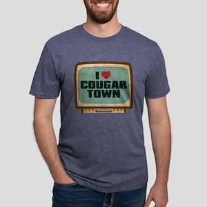 Retro I Heart Cougar Town Mens Tri-blend T-Shirt