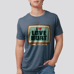 Retro I Heart Love Boat Mens Tri-blend T-Shirt