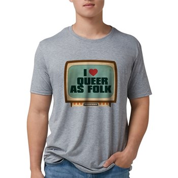 Retro I Heart Queer as Folk Mens Tri-blend T-Shirt