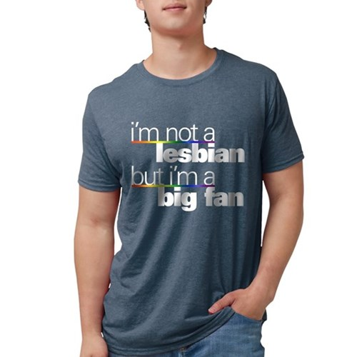 Not a Lesbian Mens Tri-blend T-Shirt