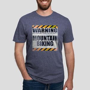Warning: Mountain Biking Mens Tri-blend T-Shirt