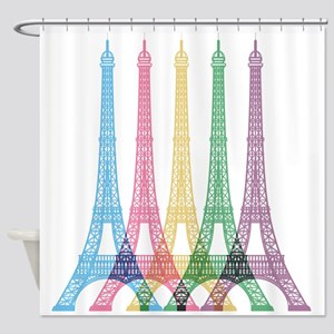 Eiffel Tower Pattern Shower Curtain