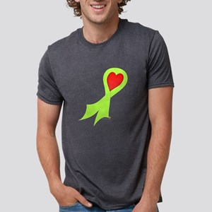 Lime Green Ribbon with Heart Mens Tri-blend T-Shir