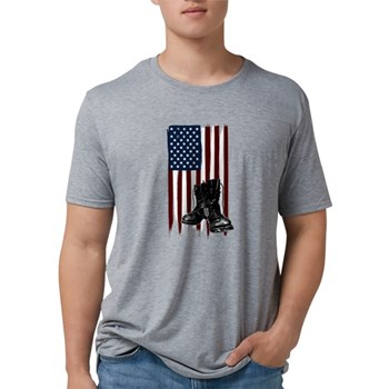 American Flag and Boots Mens Tri-blend T-Shirt