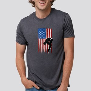 USA Flag Team Diving Mens Tri-blend T-Shirt