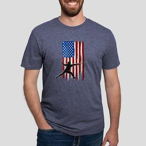 USA Flag Team Fencing Mens Tri-blend T-Shirt
