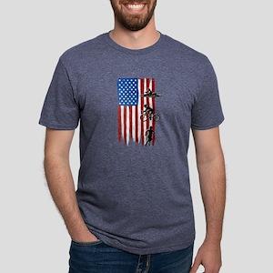 USA Flag Team Triathlon Mens Tri-blend T-Shirt