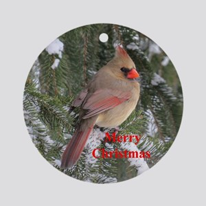 Female Cardinal Ornament (Round)