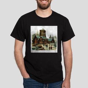 Christmas Night - Victorian Church Scene Dark T-Sh