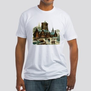 Christmas Night - Victorian Church Scene Fitted T-