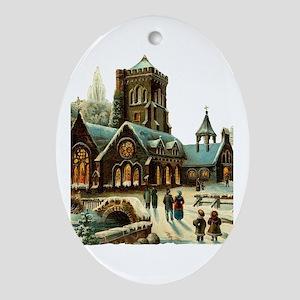 Christmas Night - Victorian Church Scene Ornament