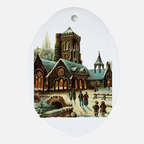Christmas Night - Victorian Church Scene Ornament