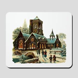 Christmas Night - Victorian Church Scene Mousepad