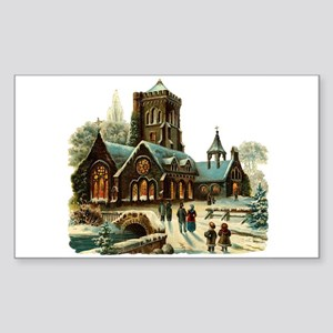 Christmas Night - Victorian Church Scene Sticker (