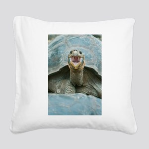 Laughing Turtle Square Canvas Pillow