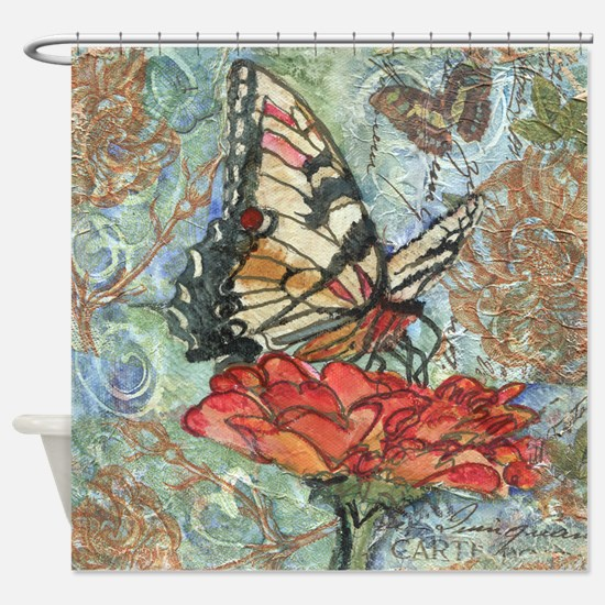 Yellow Butterfly Bathroom Shower Curtain