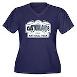 Canyonlands Blue Sign Women's Plus Size V-Neck Dar