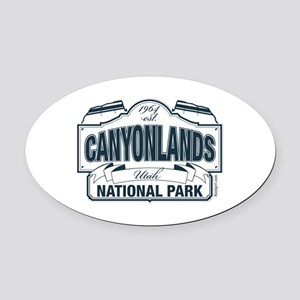 Canyonlands Blue Sign Oval Car Magnet