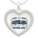 Canyonlands Blue Sign Silver Heart Necklace