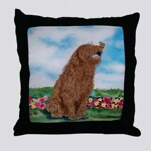Chocolate Labradoodle Butterfly Throw Pillow