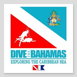"Dive Bahamas Square Car Magnet 3"" x 3"""