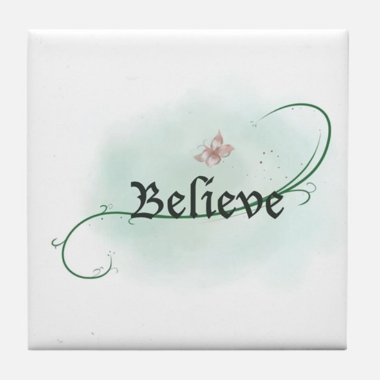 To grow, believe! Tile Coaster