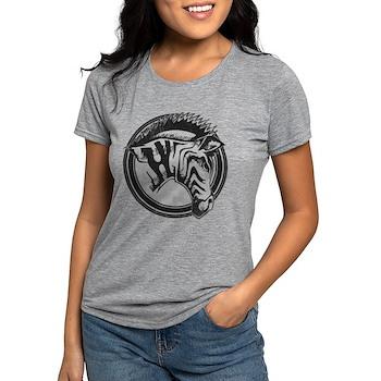 Distressed Wild Zebra Stamp Womens Tri-blend T-Shi