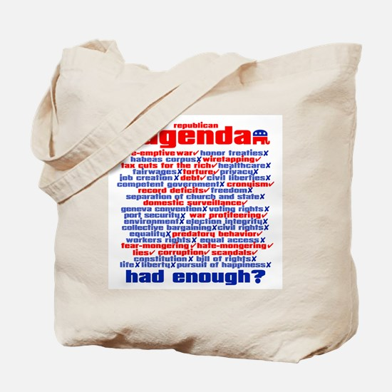 REPUBLICAN AGENDA Tote Bag