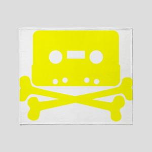 Yellow Cassette And Crossbones Throw Blanket