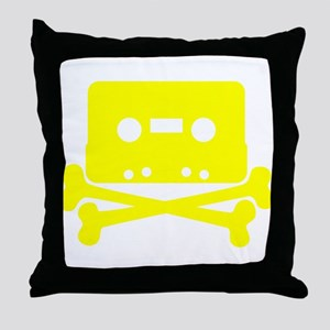 Yellow Cassette And Crossbones Throw Pillow