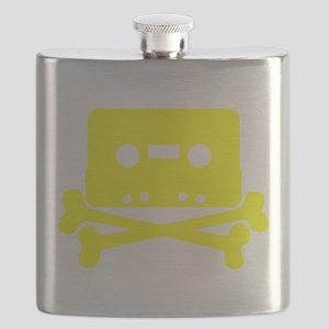 Yellow Cassette And Crossbones Flask