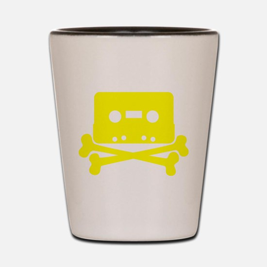 Yellow Cassette And Crossbones Shot Glass