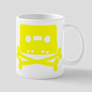 Yellow Cassette And Crossbones Mug