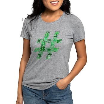 Green Hashtag Cloud Womens Tri-blend T-Shirt