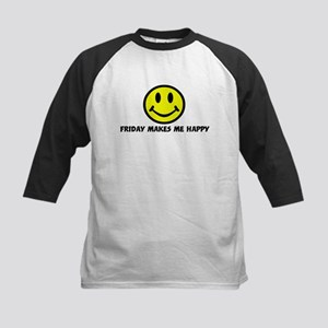 Smile: Friday makes me happy Kids Baseball Jersey