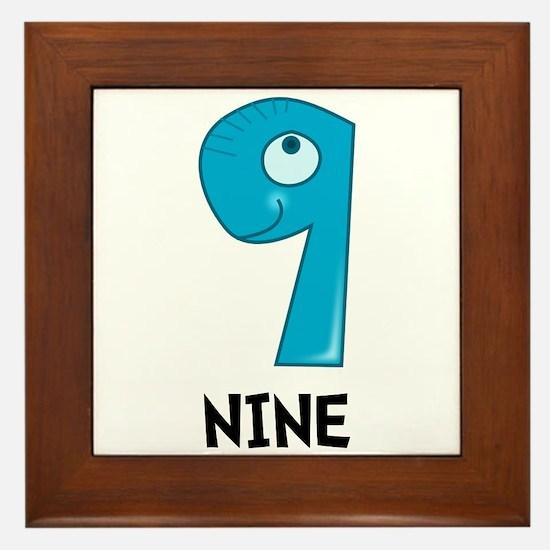 Number Nine Framed Tile